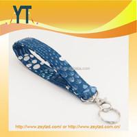 Keychain, Fabric Lanyard Key Fob With Snap, Pomegranates, Navy