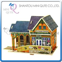 Mini Qute 3D Wooden Puzzle Norway Train Station architecture famous building Adult kids model educational toy gift NO.F116
