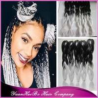 """Stock! Wholesale 20"""" fold ombre black/gray two tone synthetic braiding hair for black women"""