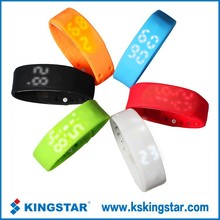 New LED Screen silicone wristband 3D USB bluetooth smart bracelet calorie pedometer