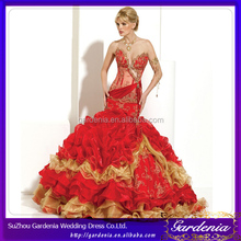 High Quality Very Luxury Ball Gown Sweetheart Low Back See Through Appliqued Ruffle Taffeta Red Gold Wedding Dresses (AB0503)