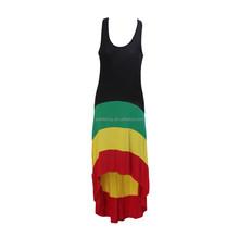 Rasta vestidos de ropa de Reggae Hawaii hasta la rodilla Bahamas Jamaica cosplay del partido del traje QAWC-3055