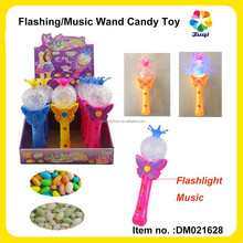 Kids Plastic Princess Wand Fairy Magic Wand With LED Magic Flashing/music For Girls (with candy container)
