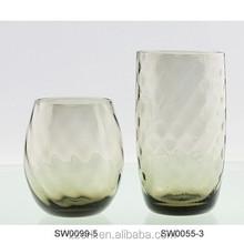 popular grey oblique wide ridge glass water tumbler/tea cup