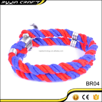 Made In China Latest Popular Silver Anchor Red And Blue Bracelet