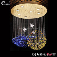 blue moon and star shape hanging ball string light