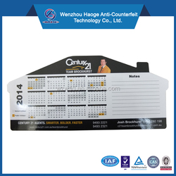 House shape 2017 PVC calendar fridge magnet