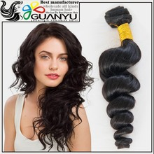 Guan yu hair hot selling 100% unprocessed human hair brazillian loose wave, tangle free