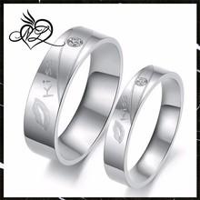 Love Titanium Steel White Kiss Ring Couple Wedding Bands Shine Jewelry Finger