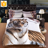 Wholesale bedding set Satin bedding set Gorgeous Tiger on White background duvet comforter