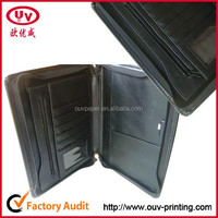 A4 A5 pu leather file pocket folder with clips