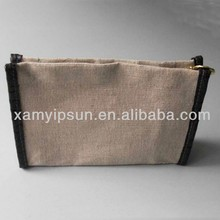Eco-Friendly Jute Linen Cosmetic Pouch Bag With Waterproof Lining