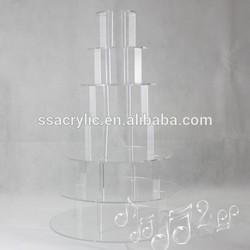 party decoration factory Best sale crystal 7 tier acrylic cupcake display stand/acrylic cupcake bakery display/acrylic cake pop