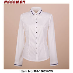 Hot Sale Fashion Design Long Sleeve Ladies Blouse With Contrast Trim China Online Shopping for Clothing
