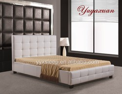 Furniture Living Room Luxury White Leather Bed
