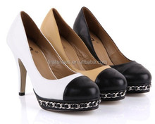 2015 Channel Fashion Women's high Heel Shoes Office Ladies Shoes with Chain