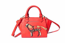 Pony shoulder ladies Trapeze handbag crossbody rivet bag AG1517937RED
