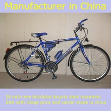 26 inch new bicicletas bicycle steel mountain bike with cheap price and carrier made in china