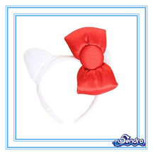 New PLUSH Bow & Ears HEADBAND decoration Costume Womans Girls HALLOWEEN