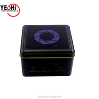 Recycled material ordinary square shape black printing flat tin box