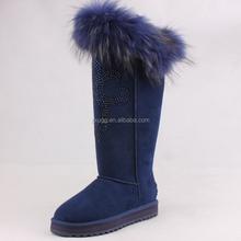 2015 knee high snow boots100% fur High beautiful warm cheap boots factory hot sale