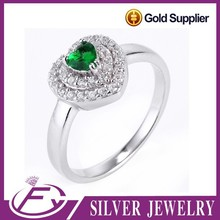 Factory direct sell top cubic zircon 925 sterling silver fire opal ring