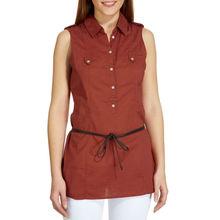 Camisa tipo túnica de lino sin mangas CE026