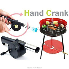 Outdoor Cooking BBQ Fan Air Blower Barbecue Fire Bellows Hand Crank Powered