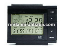 digit alarm clock with weather station display indoor temperature & humidity weather display time display ,minute calendar