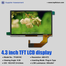 Factory supply 4.3 inch tft panel display with 480*272 and capacitive touch screen TF43019A