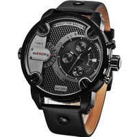 Men watch luxury Weide WH3301 Black coloring match casual sport watch Leather Thin Black