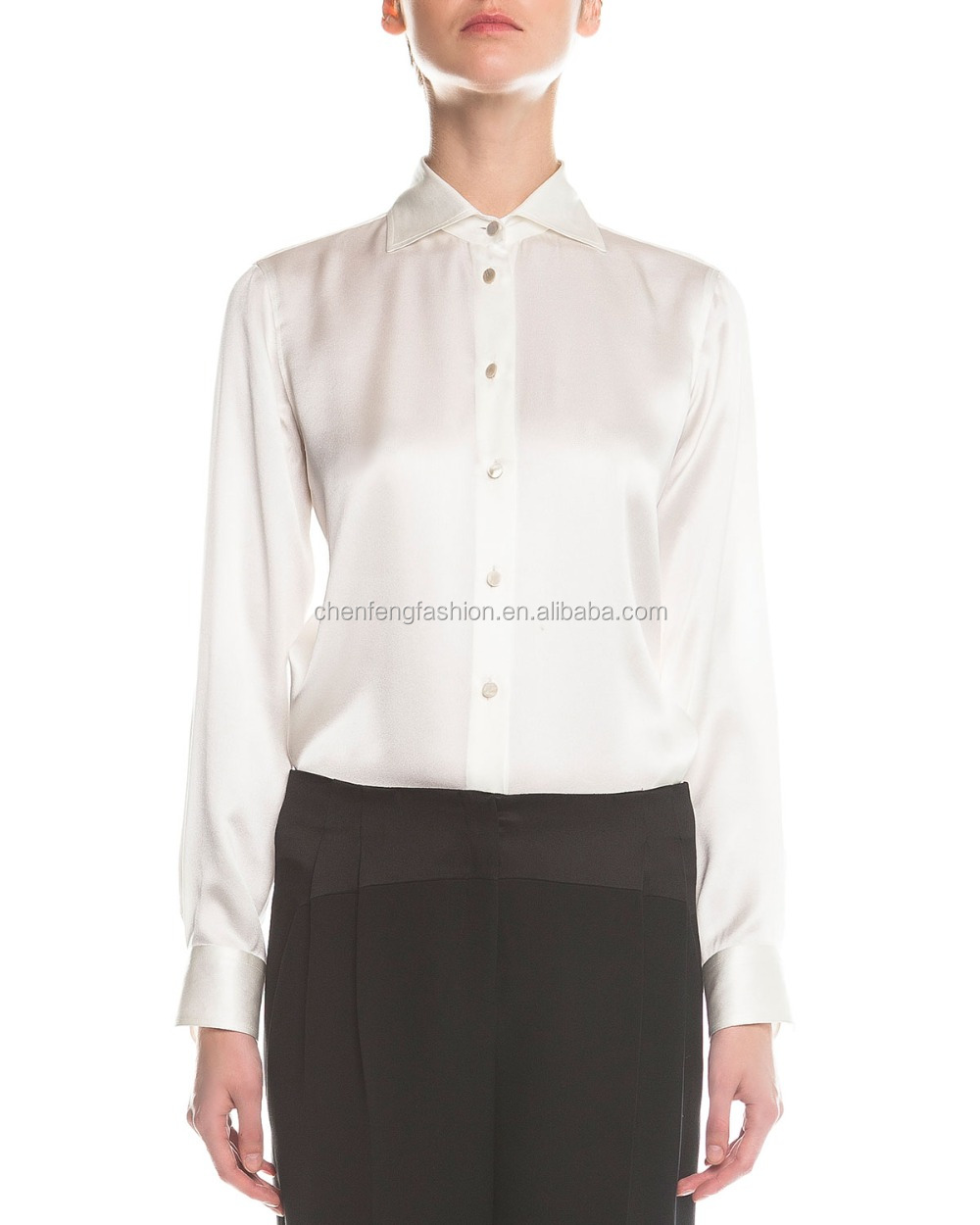 White Satin Blouse Long Sleeve 27