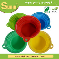 Pet bowl with lid silicone collapsible bowl