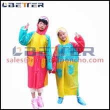kids clear cheap disposable waterproof plastic raincoats