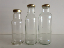 Ring Neck Chili Sauce Glass Bottles beverage glass juice bottles with screw plastic cap