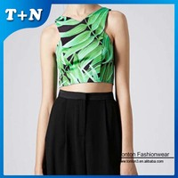 fashion sex custom sublimation print clothing for women crop top