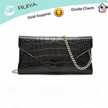 Ladies Fashion Cowhide Genuine Leather Envelope Evening Party Bag With Chain