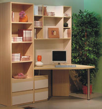 bookcase with computer desk