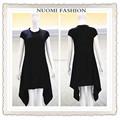 Último vestido diseña fotos moda para mujer vestido de pliegues negros del vestido ocasional