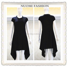 Latest dress designs photos fashion ladies dress black pleats casual dress