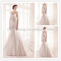 2014 Pure manual nail bead white fishtail wedding dress