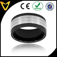 Ebay China Website 316L Surgical Stainless Steel Ring Men's Black-plated and Brushed Stainless Steel Ring