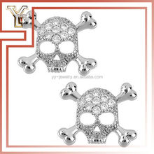 Skull Silver Plated Crystal Pave Stud Earring Indian Hot Sex Photo