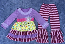 Boutique comfortable outfits ,richful fabric sets in polka dot top and floral contain tripe matching dress with pink stripe ruf