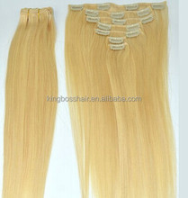 100% remy human hair clip in extension/weft/weaving hair clip in 100% remy virgin human hair extension weaving hair weft