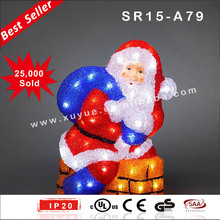 Wholesale outdoor Acrylic santa clause sitting on chimney christmas decoration with LED light