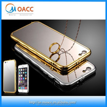 2015 Gold aluminum bumper case for iphone 6, mirror back phone case for iphone 6 bumper case