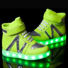 Intermitente bling reciclado de carga zapatilla de deporte de la luz led zapatos de los niños