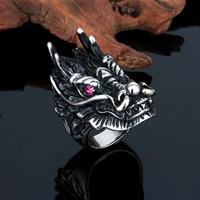 Fashion enamel antique ruby eyes dragon shaped ring