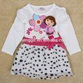 ( h5070) 18m-6y blanco el último bebé niña vestido de manga larga niña de primavera/otoño de vestir para niños